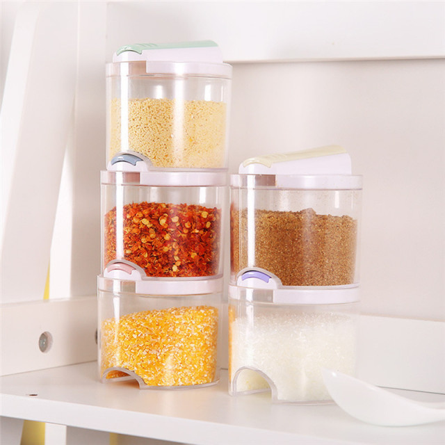 5pcs/Set Plastic Spice Bottles with Lid and Holes Transparent Spice Jar Seasoning Containers Kitchen & 5pcs/Set Plastic Spice Bottles with Lid and Holes Transparent Spice ...