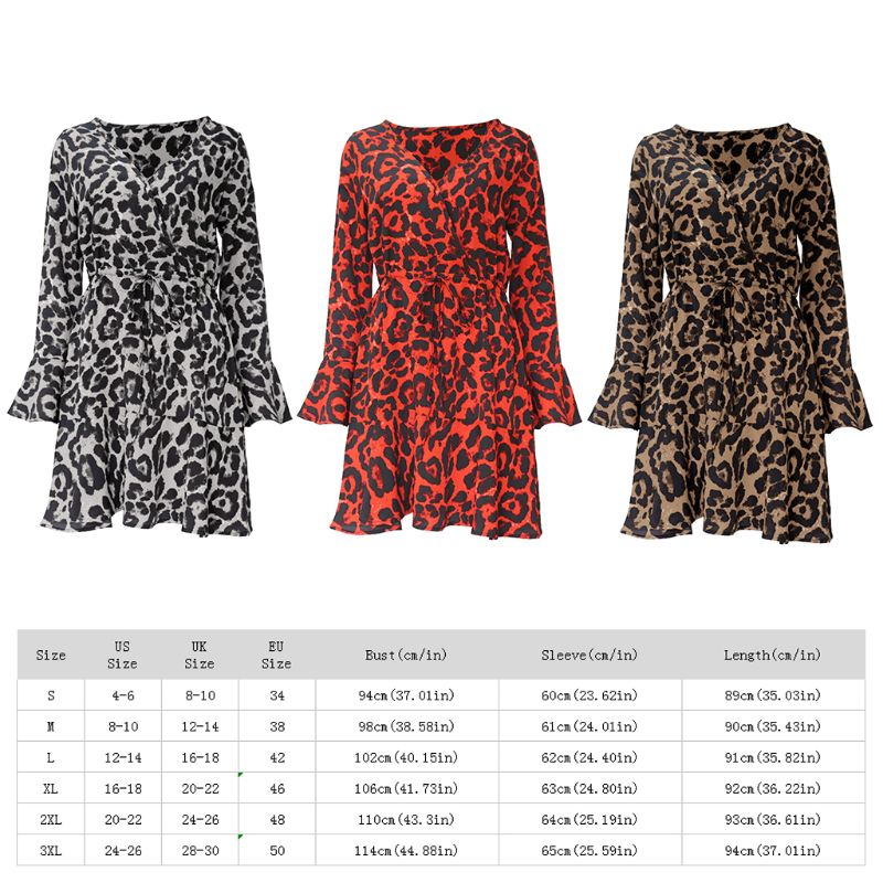 Womens Long Flare Sleeves Chiffon Mini A Line Dress Vintage Leopard Printed Wrap Front V Neck Empire Waist Ruffles Swing Beach S in Dresses from Women 39 s Clothing