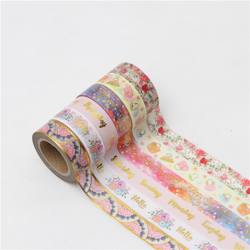 15mm*10m Rose Diamonds Foil Washi Tape Masking Tapes For Diary Album Scrapbooking Decoration Stationery