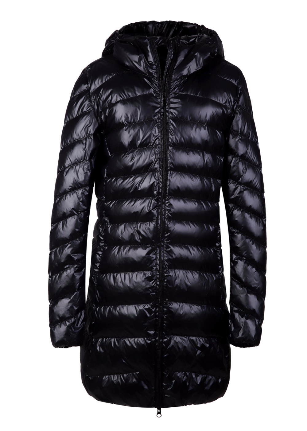 New 2016 female wither coat and jacket long thin jacket size slim with hooded coat women parks plus size S-3XL