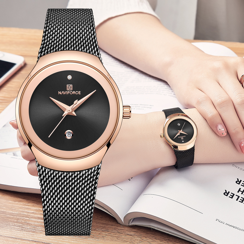 NAVIFORCE Women Watches Top Luxury Brand Fashion Quartz Calendar Watch Ladies Classic Ultra-thin Rose Gold Black Wrist Watch