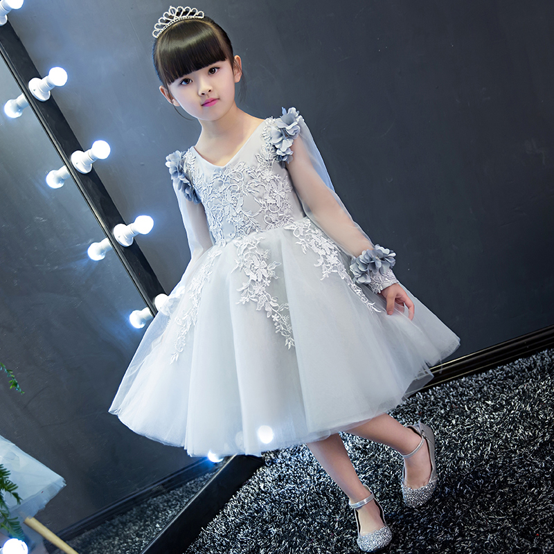 Princess Girls Dress Lace Embroidery Appliques Knee Length Flower Girls Dress For Wedding Hollow Out Prom Party Girls Dress P22 lace detail flower embroidery velvet cami dress