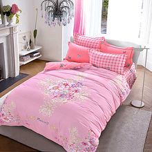 Elegant Floral Girls Pink Bedding Set Queen King Size Brushed Cotton Fabric Warm Duvet Cover Pink Plaid Bed Sheets Pillowcase