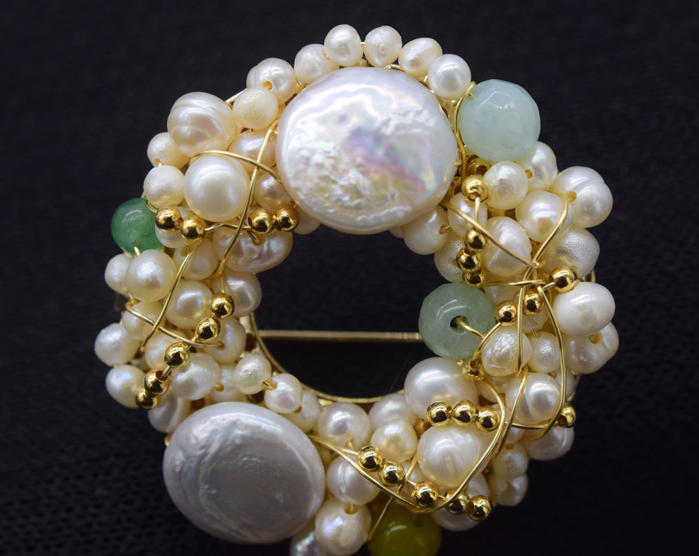 freshwater pearl white coin 45mm green jade brooch FPPJ wholesale beads nature unique hand make faux pearl rhinestone unique brooch