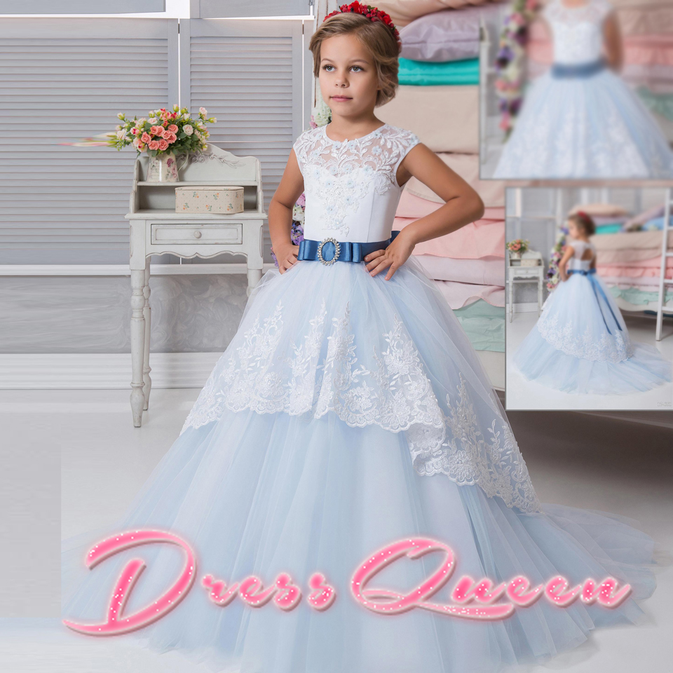 2017 New Flower Girl Dress For Weddings Light Blue Ball Gown Sleevesless Lace Up Appliques O-neck Communion Gowns Vestidos Longo