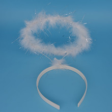 Marabú blanco venda de la pluma del ángel de halo anillo para niños adultos mujeres niñas Children'Day Fiesta de Cumpleaños de Navidad de La Boda
