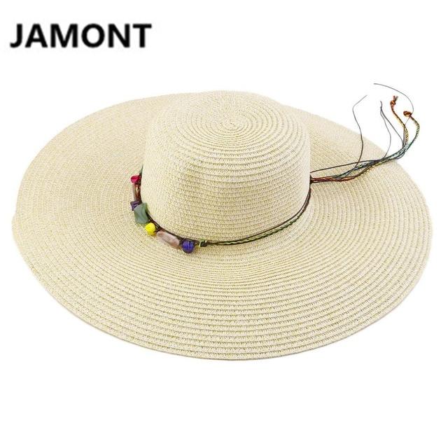 e523866089aec Mujeres Amplia Borde Grande Floppy Summer Beach Sun Sombreros arco cuerda  de Paja Sombrero Panamá Sombreros
