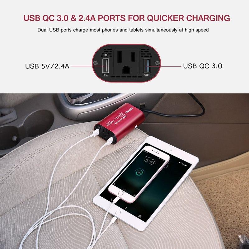 VicTsing Car Power Inverter DC 12V to 110V AC Converter QC 3.0 Portable Car Adapter 150W Power Inverter Adapter with Dual USB    (2)