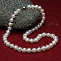 Женский подарок Слово Любовь доставка настоящий подарок AAA прекрасный 10 12 мм белый природный жемчуг ожерелье 17 14kt 6,07 серебро ювелирные изде