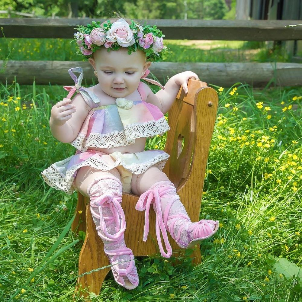 2018 детская Радуга наряды из хлопка для маленьких девочек топы с кружевом юбки Для детей, на лето Костюмы Комплекты для малышей