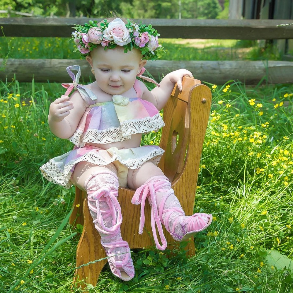 2018 Childrens Rainbow Outfits Baby Girls Cotton Tank tops with Lace Skirts Kids Summer Clothing Babies Sets