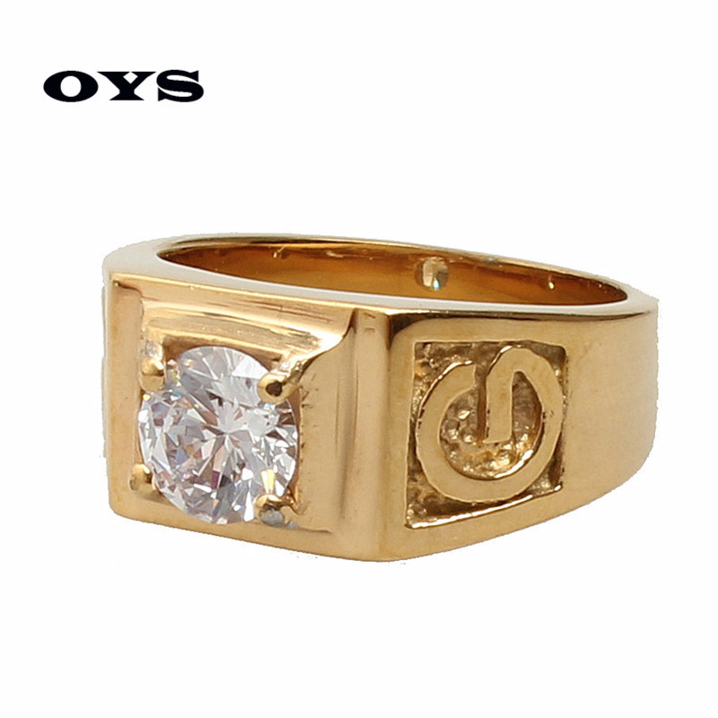 Hot sale Fashion Jewelry Wedding Engagement Rings for Men Stainless Steel Gold Plated AAA Zircon cz Diamond Jewelry 01G300