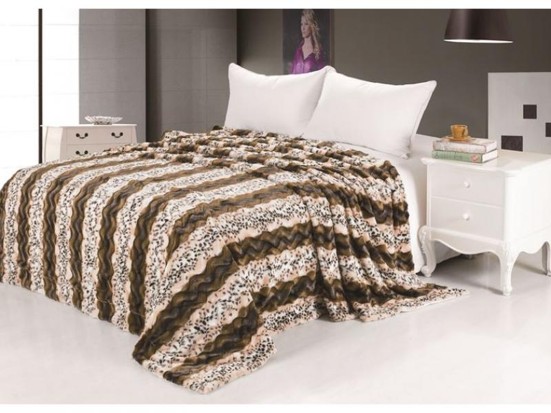 Fur bedspread Lynx coffee цена