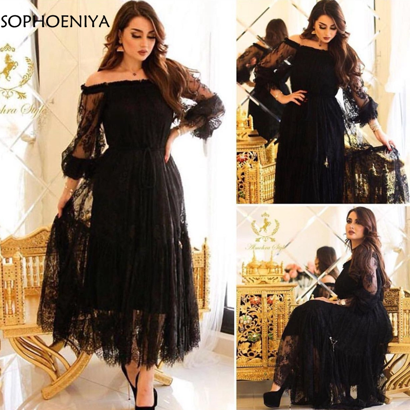 New Arrival Black Lace Evening dresses 2019 Arabic evening dress short robe soiree dubai Arabic Evening dress Party formal wear