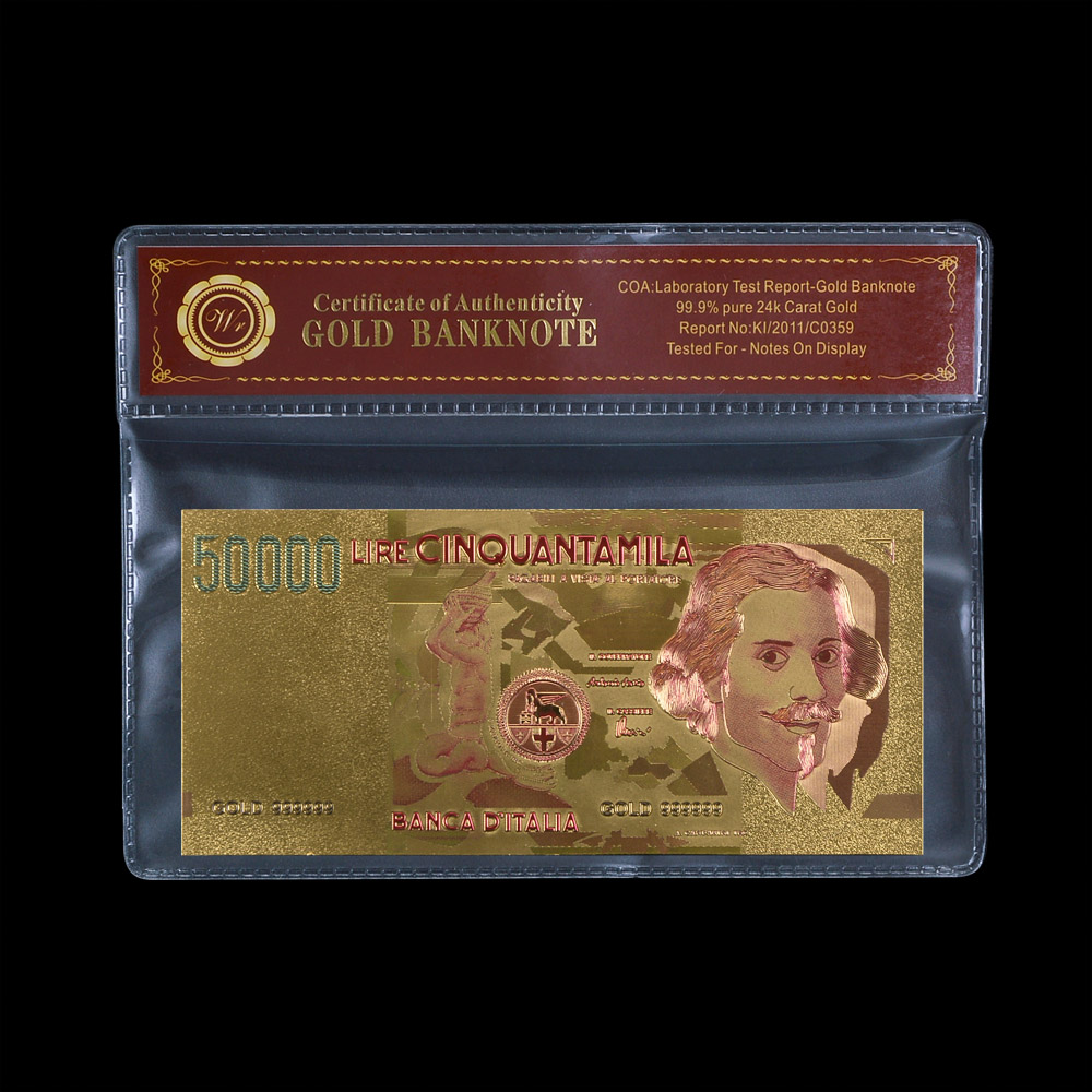 WR Promotional Gift Gold Foil Bill Note 999.9 Italy 50000 Lire Paper Money Decoration Crafts for Friends Gifts 1:1 Size