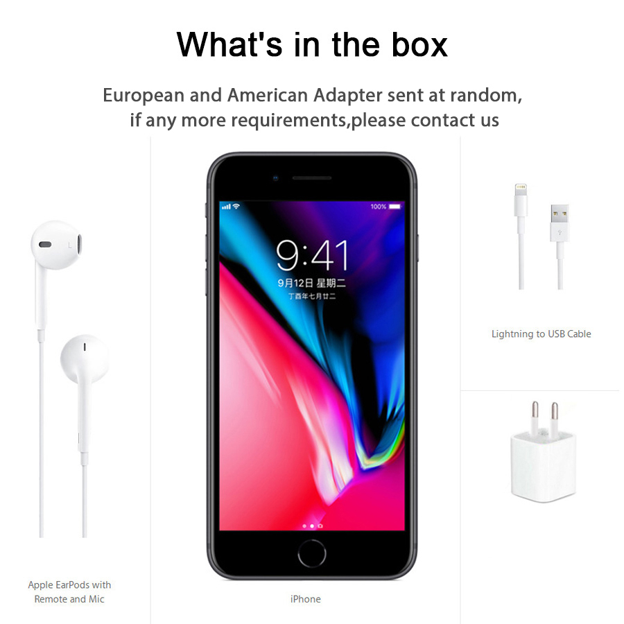 Original Apple iphone 8 Hexa Core RAM 2GB ROM 64GB 4.7 inch 12MP Unlocked 1821mAh iOS 11 LTE Fingerprint Mobile Phone iphone8