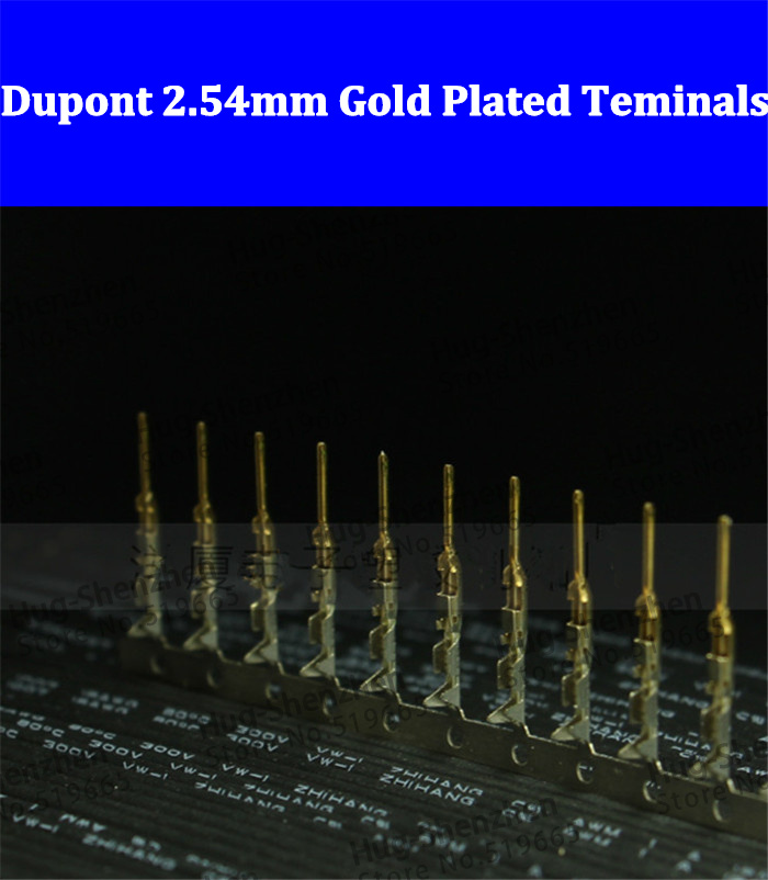 Wholesale Male 2.54mm Dupont connnector Half Gold Plated Crimp Pins terminals for female connector hd 007 surface mounting silver plated surface crimp terminal current 10a male female 250v 7 pins connector