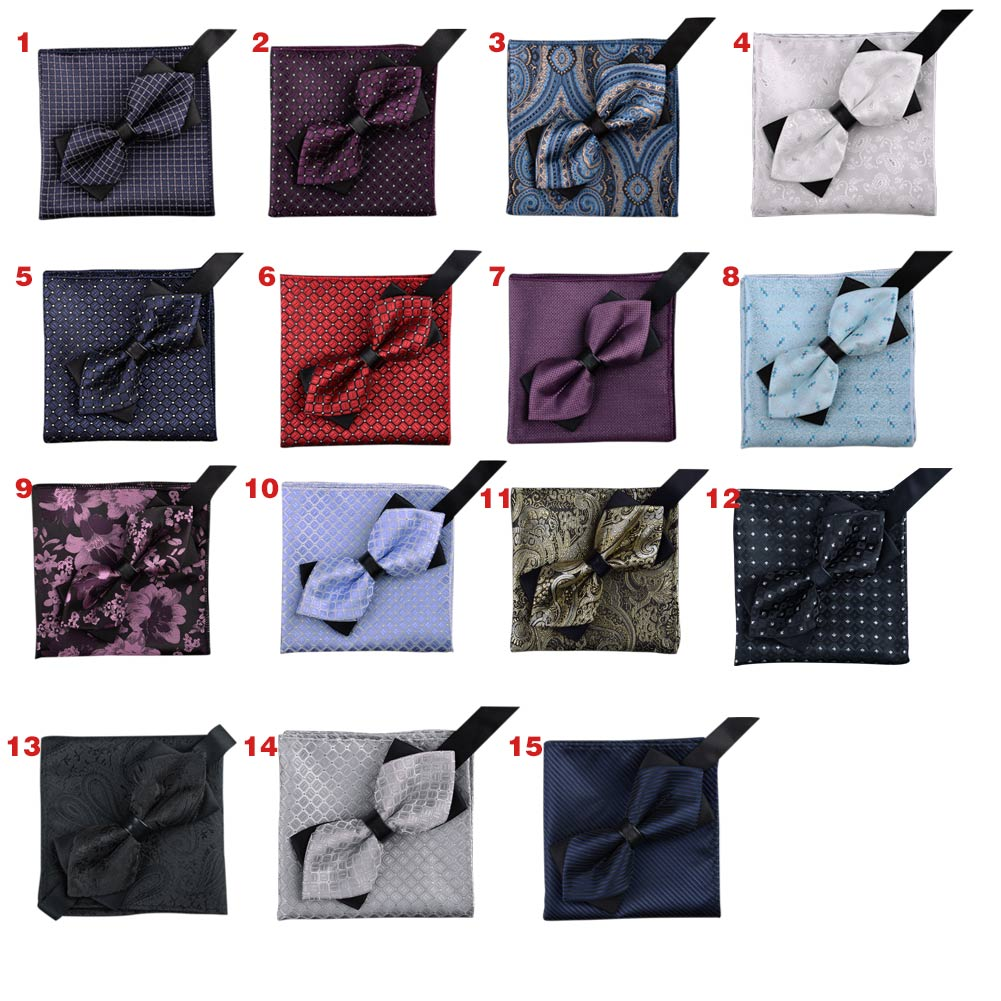 Men Jacquard Woven Butterfly Self Bow Tie Pocket Square Handkerchief Hanky Suit Set KNG88