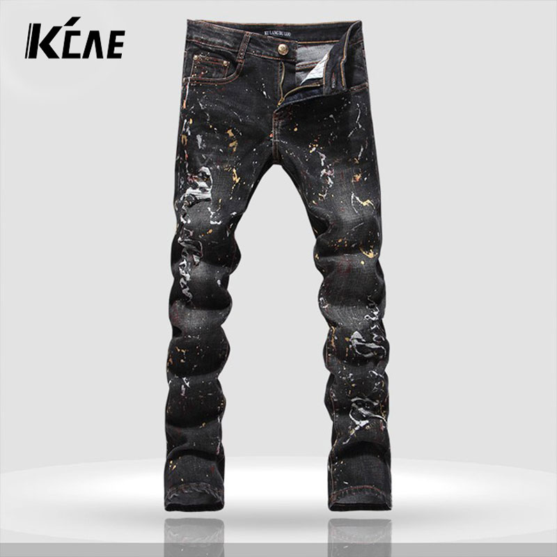 ФОТО 2016 New Brand Black Jeans Men 100% Cotton Dragon Pattern Brand Designer Mens Printed Jeans Slim Fit Denim Mens Jeans Joggers