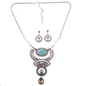 Image 2 - MS1505054 Vintage Jewelry Sets Blue Red Color Antique Silver Plated High Quality Necklace Earrings Set Tibet Design