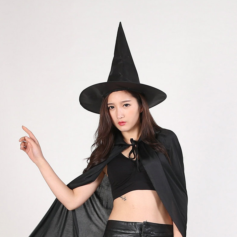 Women Girls Witch Hat Costume Accessory Cap Halloween Cosplay Party Fancy Dress