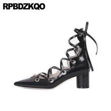 11eaf67f20c Gladiator Cage Celebrity High Heels Pointed Toe Black Brand Designer Shoes  Women Block Strappy Tie Up Cross Strap Pumps Bdsm