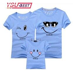 Новинка 2019 года; одинаковые футболки для всей семьи; футболка с улыбающимся лицом; Одинаковая одежда с короткими рукавами; Модный Семейный к...