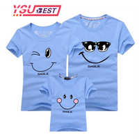 New 2019 Cotton Family Matching T Shirt Smiling Face Shirt Short Sleeves Matching Clothes Fashion Family Outfit Set Tees Tops