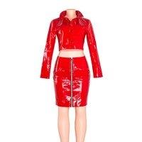 Red Club Two Piece Set Women Autumn Winter PU Leather Party Fashion Sets Jacket Mini Skirt