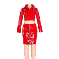 Red Club Two Piece Set Women Autumn Winter PU Leather Party Fashion Sets Jacket Mini Skirt