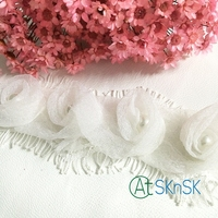 New Lace 2Yards Lot White Rose Chiffon Flower Pearl Lace Fabric Bowknot Accessories Lace Trim Headdress