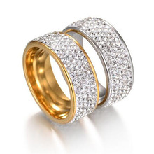 Couples 5 Rows Crystal Stainless Steel Rings For Women Men Lovers Wedding Jewelry Silver/Gold-Color Engagement Size 7-11