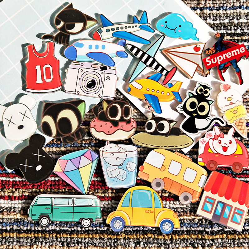 10 PCS Maxisin Acrylic Cars Plane Camera Badges Icons on The Backpack Pin Decoration Badges PVC magnetic stickers for clothing in Badges from Home Garden