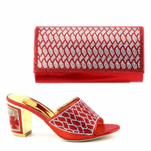 Hot sale red women kitten heel shoes set for african shoes match handbag set with rhinestone for dress V4-1 capputine new arrival rhinestone women shoes and purse set african summer high heels shoes and bag set for party dress yk 002
