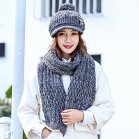 Autumn and Winter Wool Hat Scarf Two piece Thick Warm Knit Hat Collar Combination Cold Neck