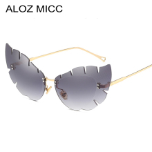 ALOZ MICC New Rimless Cat Eye Sunglasses Women Brand Designer Oversized Butterfly Eyewear For UV400 Oculos Q573