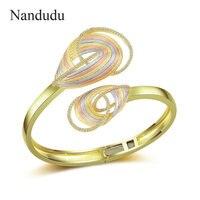 Nandudu Three Tones Gold Two Flower CZ Cuff Bangle for Women High Quality Brass Cubic Zirconia Accessories Bracelet Gift B1124