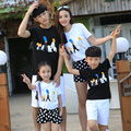New summer family look clothing sets sports mother daughter Boys Girls family cartoon casual T shirts + Pants Outfits