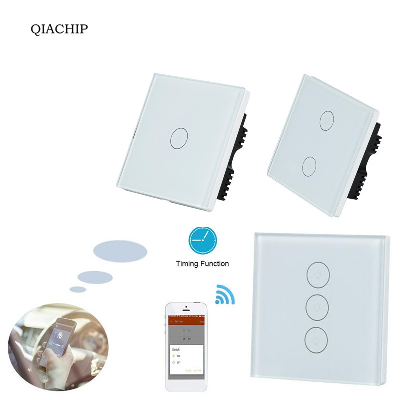 QIACHIP WiFi Smart Home UK For APP Control Touch Switch Work With Amazon Alexa Timing Voice Remote Control Switch Light Wall qiachip wifi wireless power smart home socket outlet switch remote control work with amazon alexa for ios android voice control