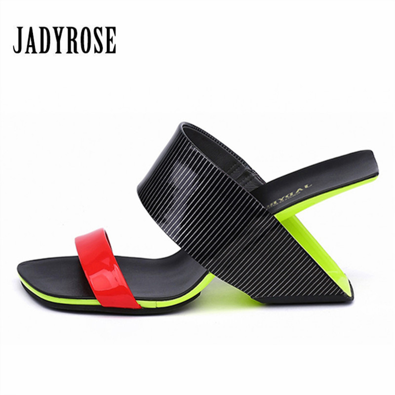 Jady Rose 2018 New Summer Women Slippers Strange Heel Sandals Wedge Shoes Woman Slides High Heel Slipper Gladiator Sandal цена