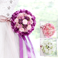 2017 Pink Purple Green Wedding Bouquet Handmade Artificial Flower buque casamento Bridal Bouquet for Wedding Decoration