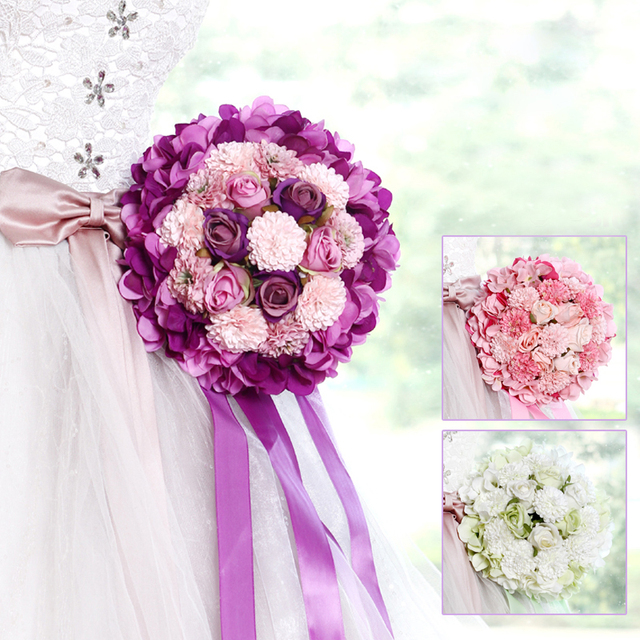 2017 Pink Purple Green Wedding Bouquet Handmade Artificial Flower ...