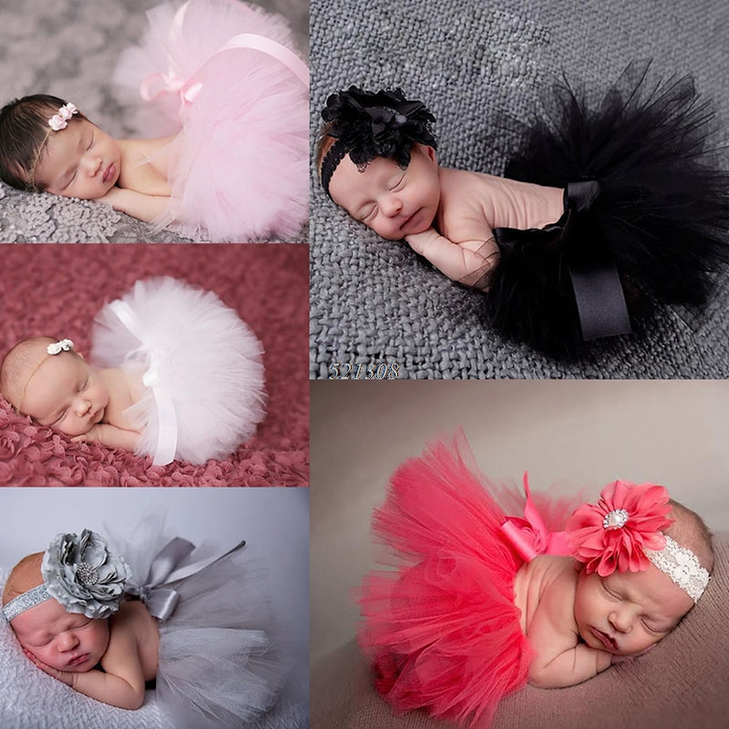 2016 New Flower Newborn Baby Tutu Skirt and Matching Headband Set Fluffy Baby Girl Tutu Skirt Baby Photography Props Shower Gift 0cm in diameter large space baby hand footed printing mud set newborn baby hand and foot print hundred days old gift souvenir