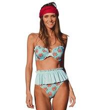 Купить с кэшбэком 2018 Ruffle Sexy Print Bikini Set Push Up Women Off Shoulder Swimsuit Brazilian High Waist Bathing Suits Swimming Suit Swimwear