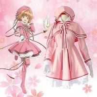 CardCaptor Sakura Cosplay Lolita Maid Pink Dress Costume Uniform Anime Magic Sakura Card Captor Cosplay Costumes S XL New