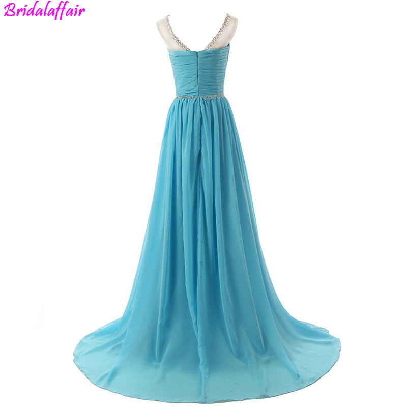 Luxury Fashion Sexy V-Neck New Evening   Dress   2019 A-Line Fashion Diamond Beading Chiffon Evening   Dresses   Sleeveless   Prom     Dress