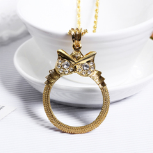 Фотография Newest Reading glass necklace Eye-catching Cute Owl pendant Twisted chain Low price 2X Magnifying Glass pendentif collier bijoux
