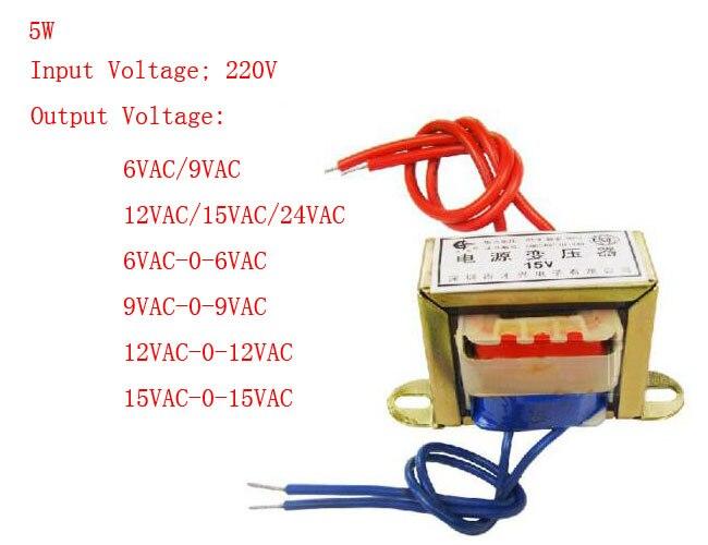 5 W EI núcleo de ferrita de entrada 220 V 50Hz montaje Vertical transformador energía eléctrica Single/Doble 6 V 9 V 12 V 15 V 18 V 24 V