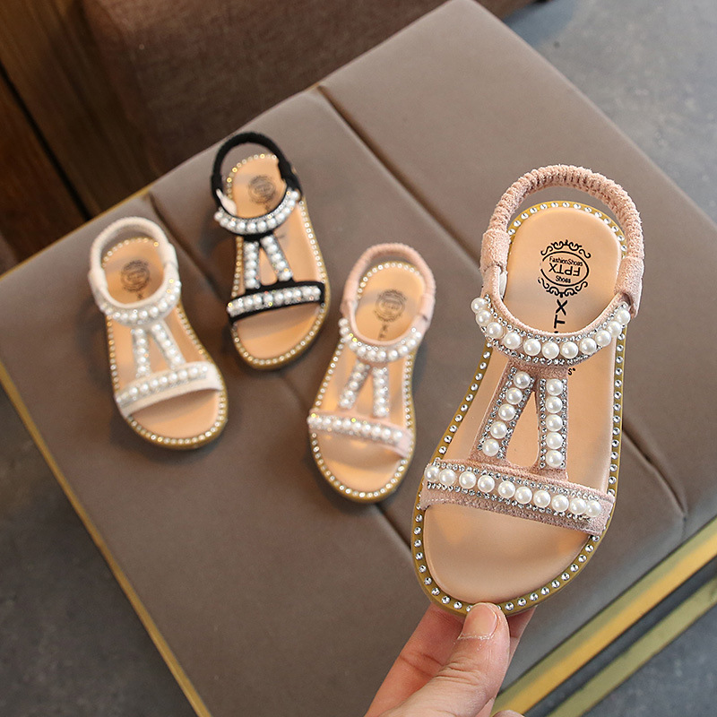Summer Baby Girls Sandals Toddler Infant Kids Slip On Pearl Crystal Single Princess Roman Shoes For Children Girl