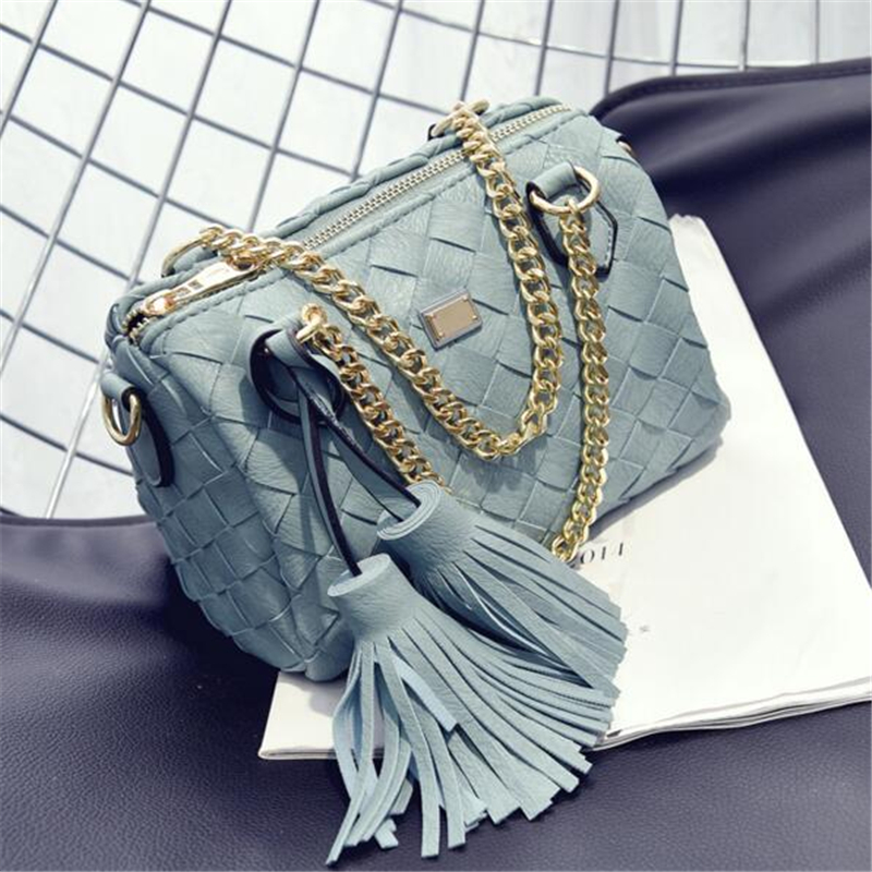 Women's Leather Handbags 2017 Korean Fashion Woven Bag European And American Popular Tassel Shoulder Bags Back packs Boston Bag